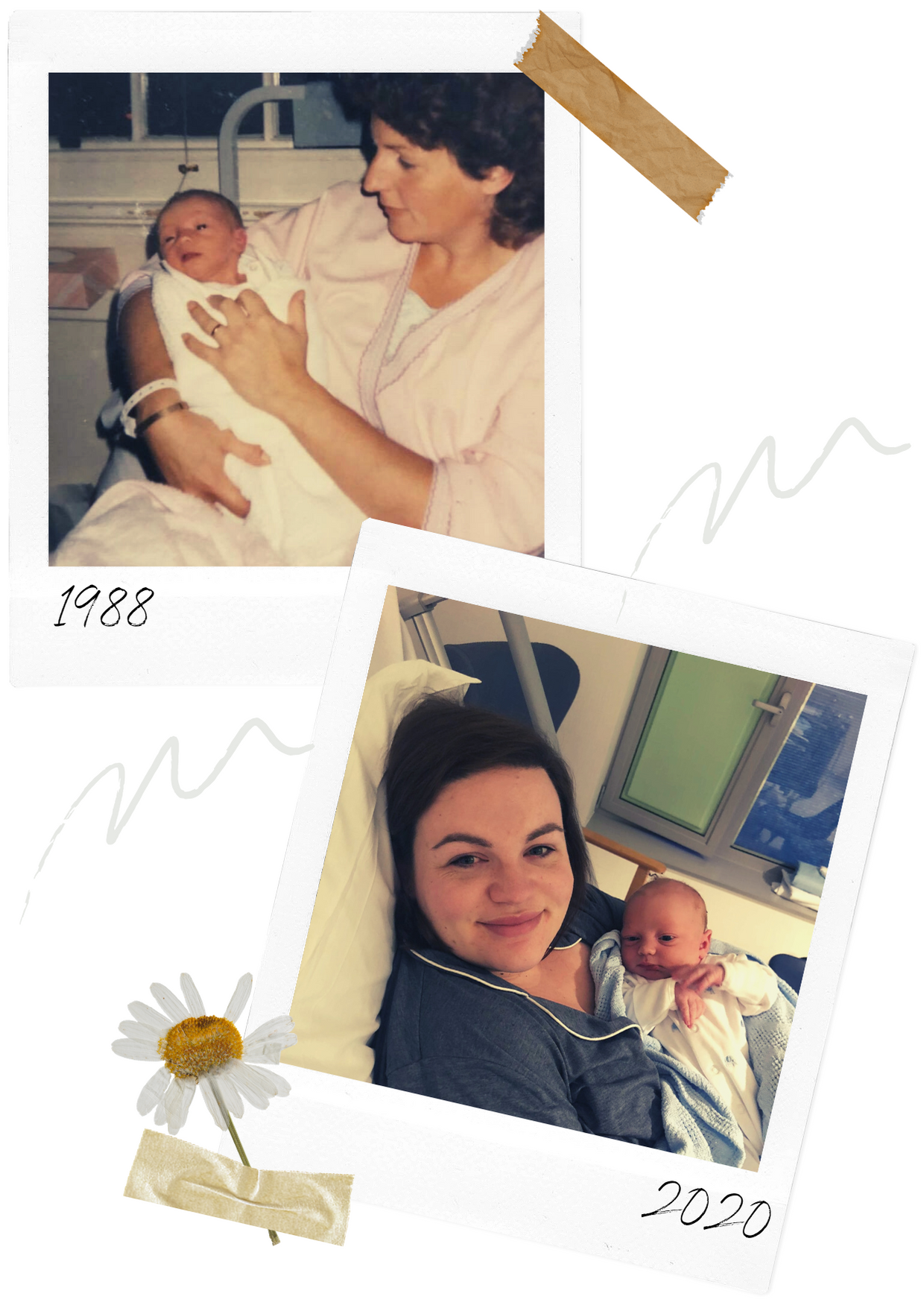 two polaroid photos of mothers with their babies