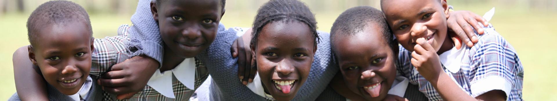 Young smiling school girls in Kenya